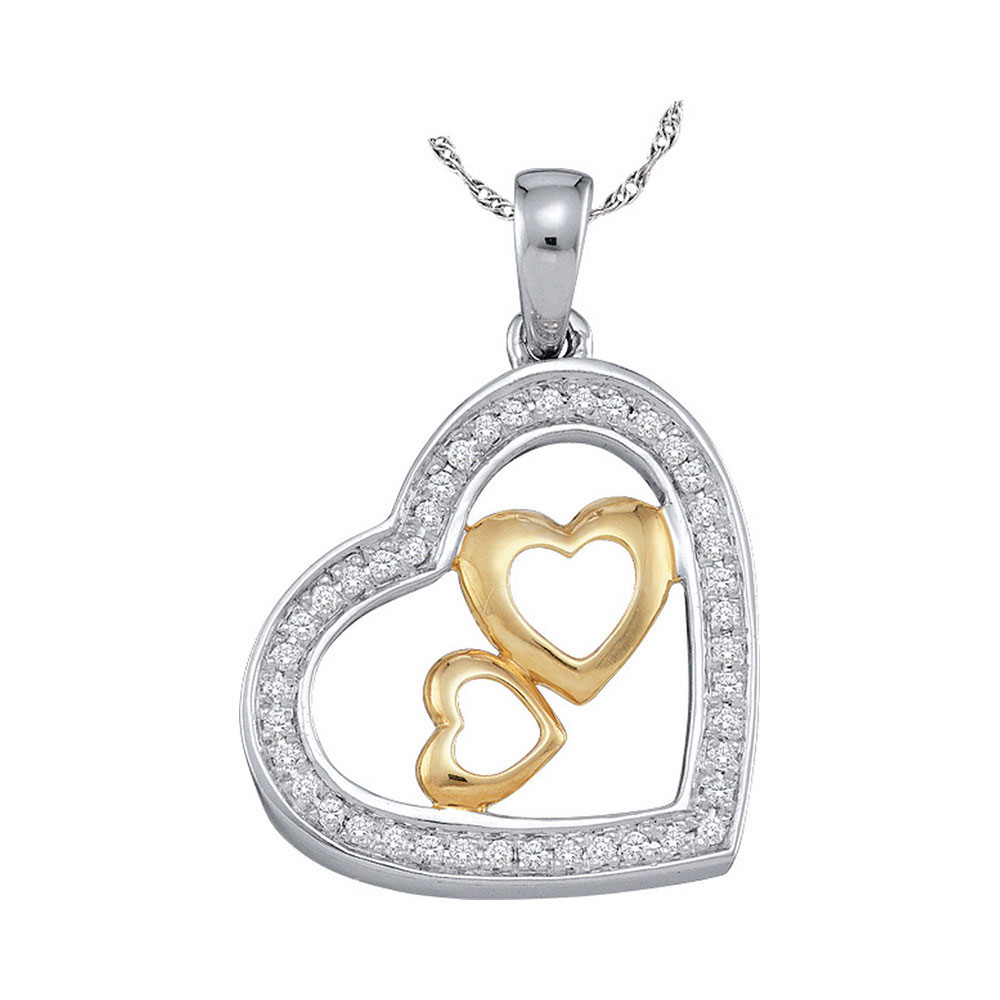 0.15 CTW Diamond Triple Nested Heart Pendant 10KT Two-tone Gold - REF-19M4H