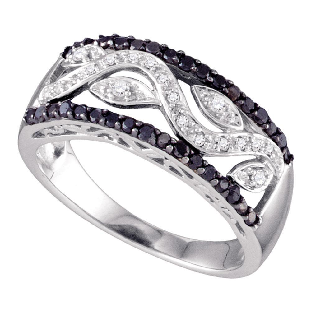 0.40 CTW Black Color Diamond Floral Ring 10KT White Gold - REF-34K4W