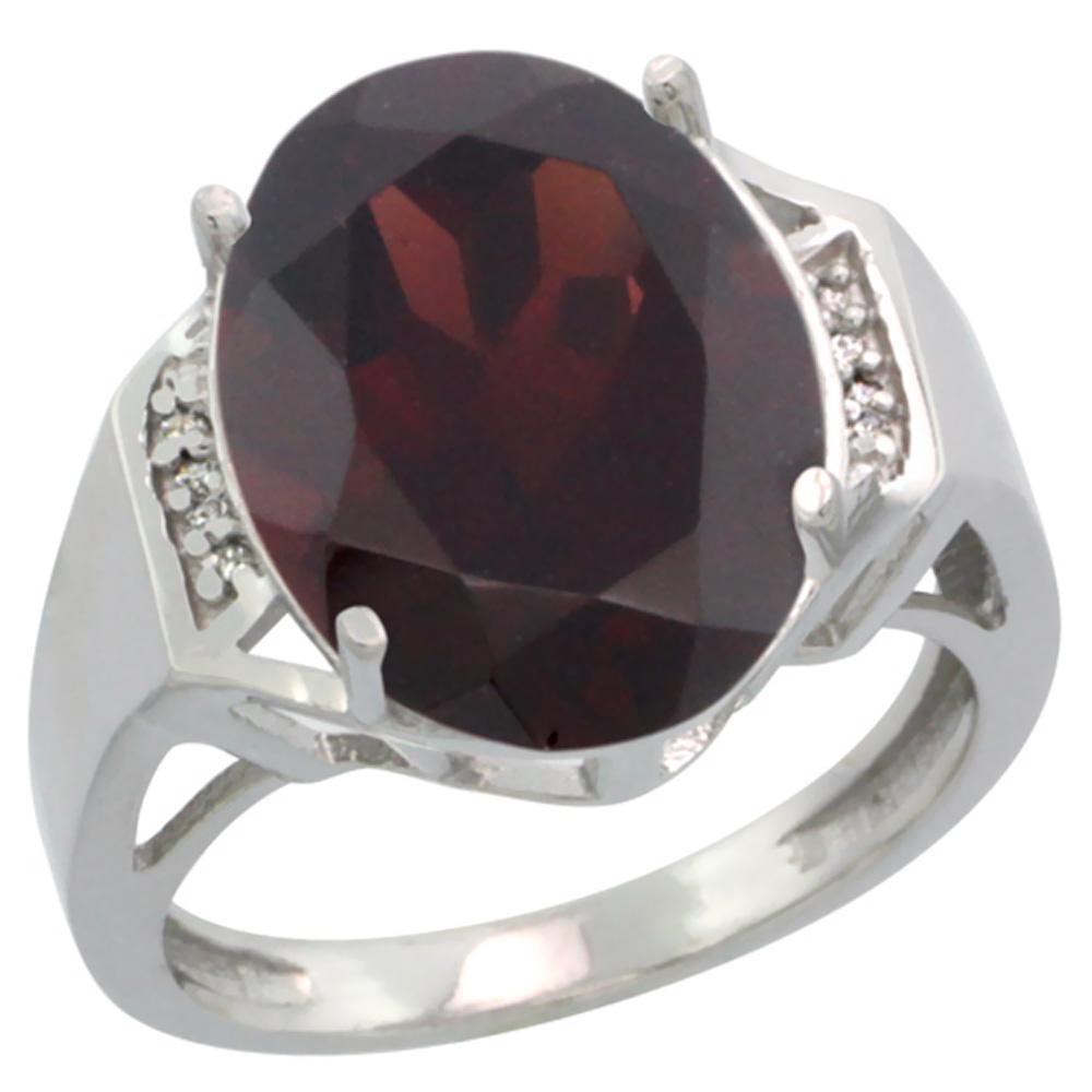 Natural 11.02 ctw Garnet & Diamond Engagement Ring 10K White Gold - REF-65V3F