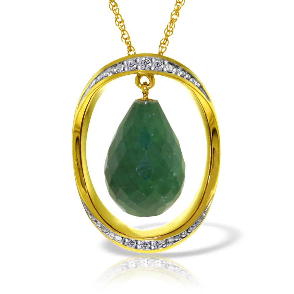 Genuine 13.6 ctw Sapphire & Diamond Necklace Jewelry 14KT Yellow Gold - REF-122Z9N