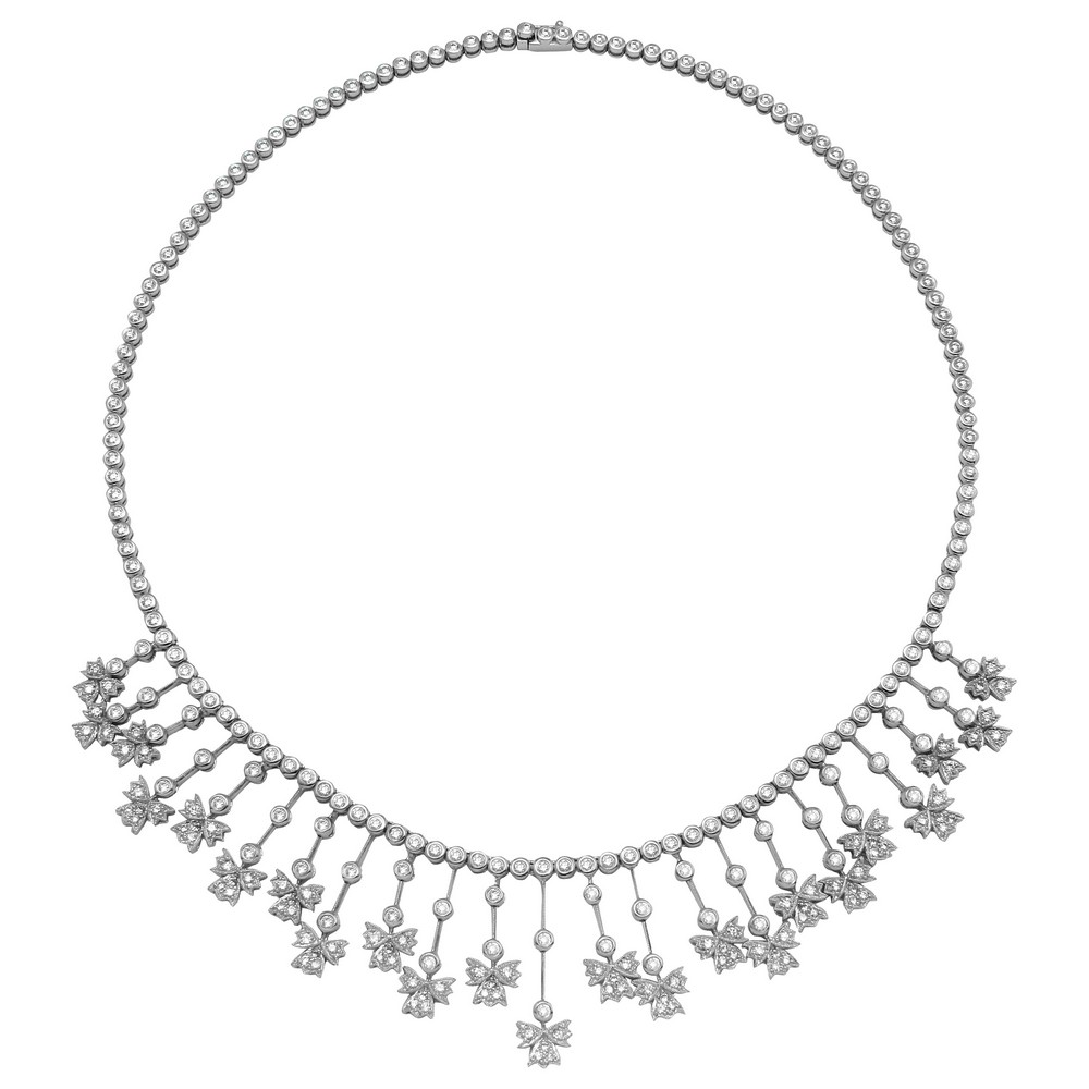 5.32 CTW Diamond Necklace 14K White Gold - REF-396N2Y