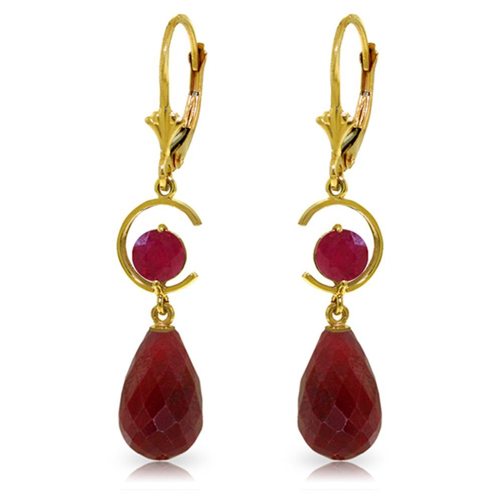 Genuine 18.6 ctw Ruby Earrings Jewelry 14KT Yellow Gold - REF-49Z2N