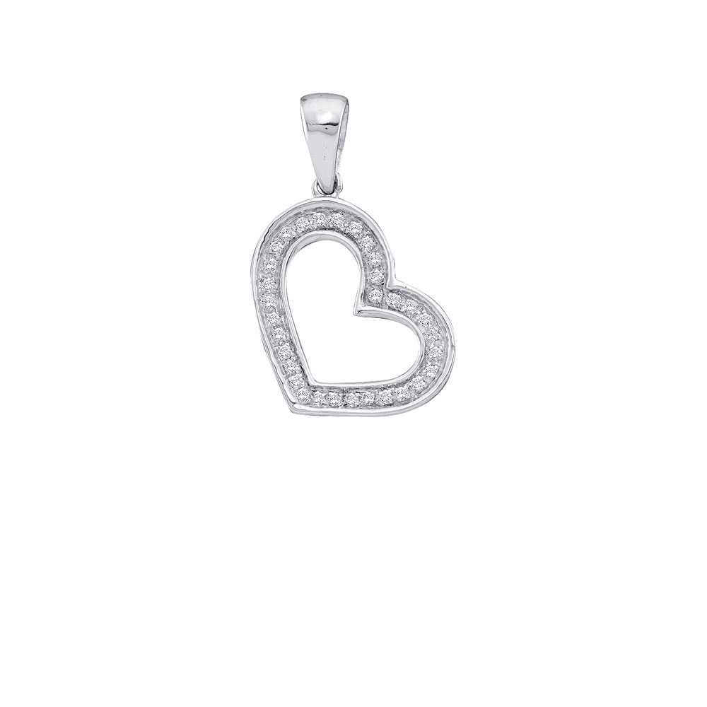 0.10 CTW Diamond Heart Love Pendant 10KT White Gold - REF-7M4H