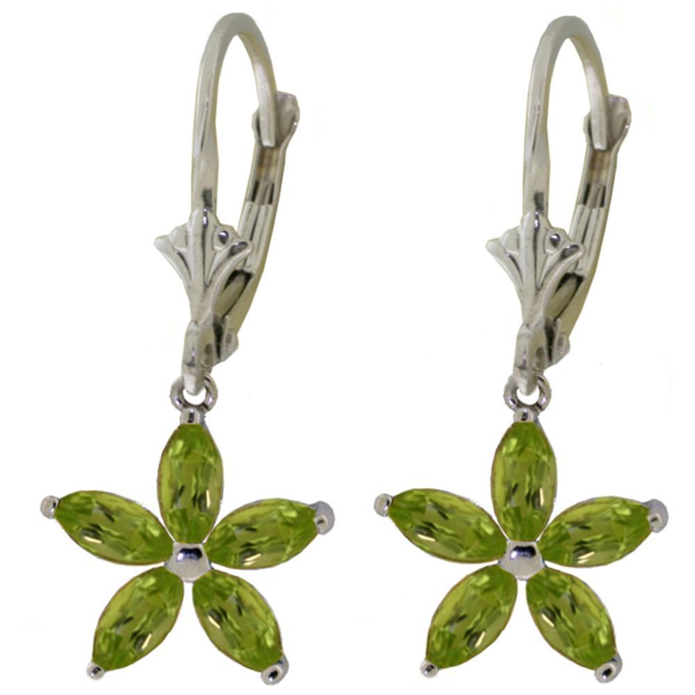 Genuine 2.8 ctw Peridot Earrings Jewelry 14KT White Gold - REF-46K7V