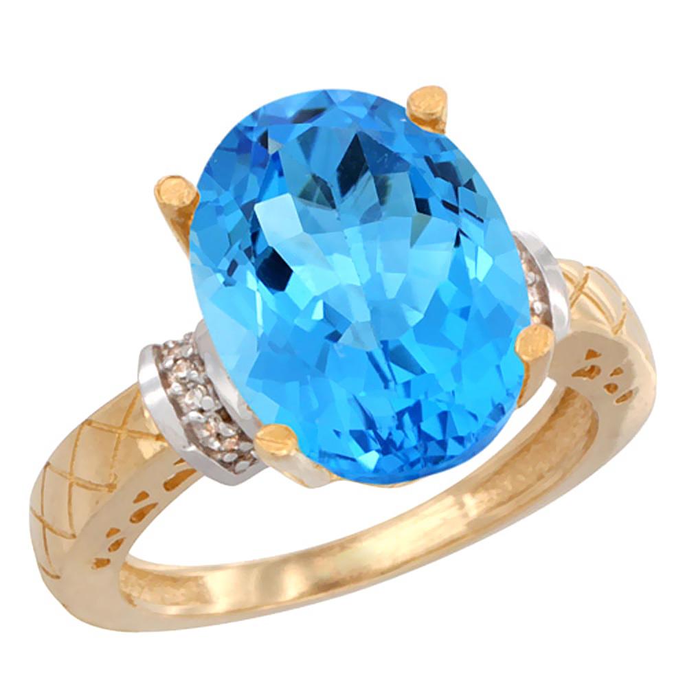 Natural 5.53 ctw Swiss-blue-topaz & Diamond Engagement Ring 10K Yellow Gold - REF-44R6Z