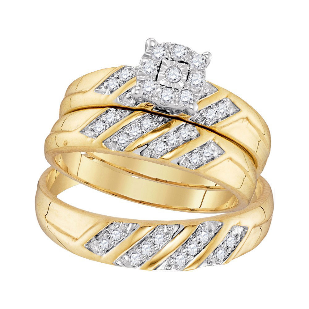 0.33 CTW His & Hers Diamond Cluster Matching Bridal Ring 10KT Yellow Gold - REF-41X9Y