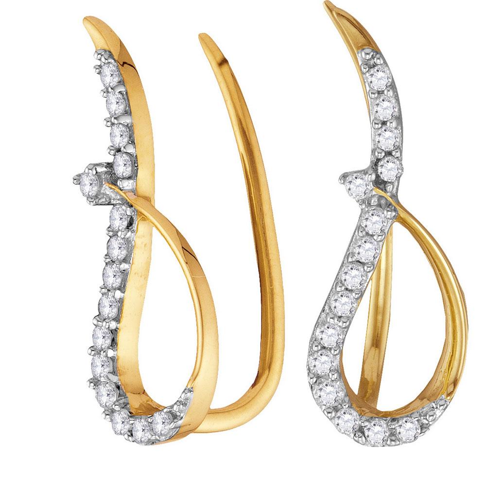 0.18 CTW Diamond Climber Earrings 10KT Yellow Gold - REF-12K8W