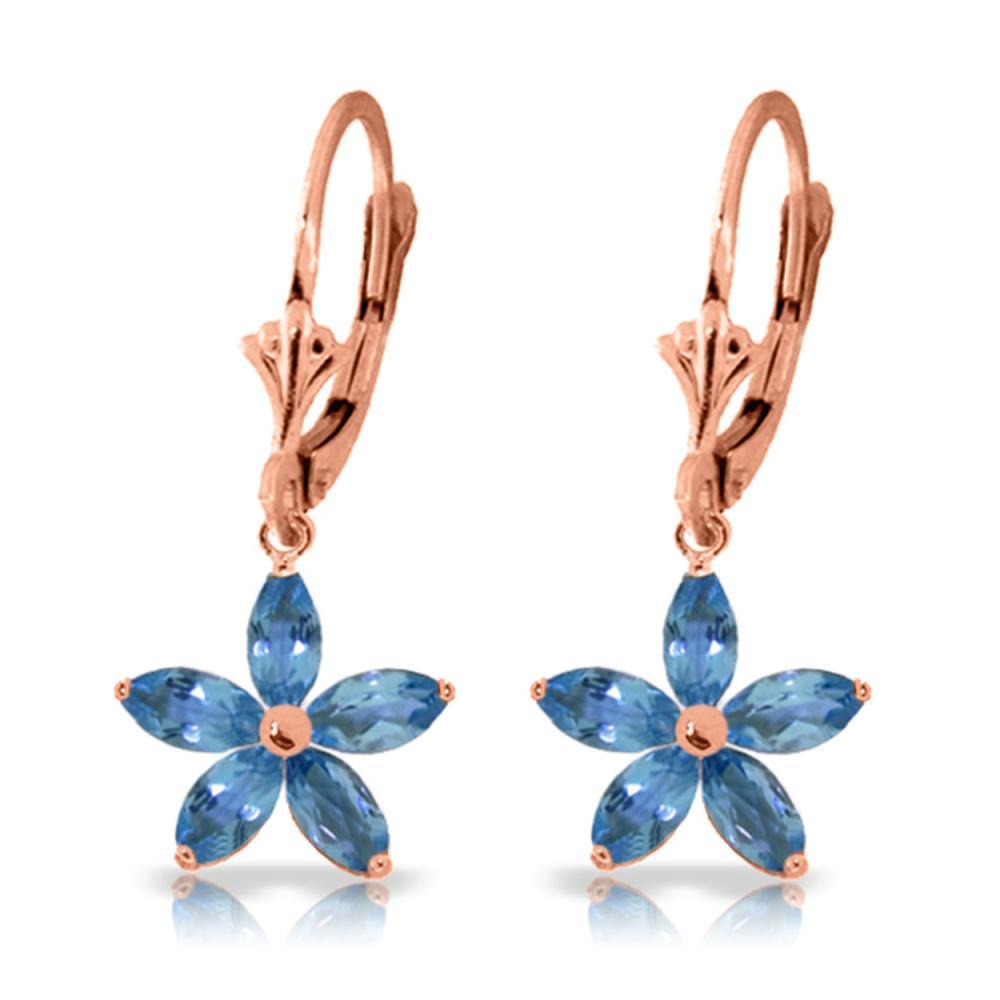 Genuine 2.8 ctw Blue Topaz Earrings Jewelry 14KT Rose Gold - REF-46Z7N