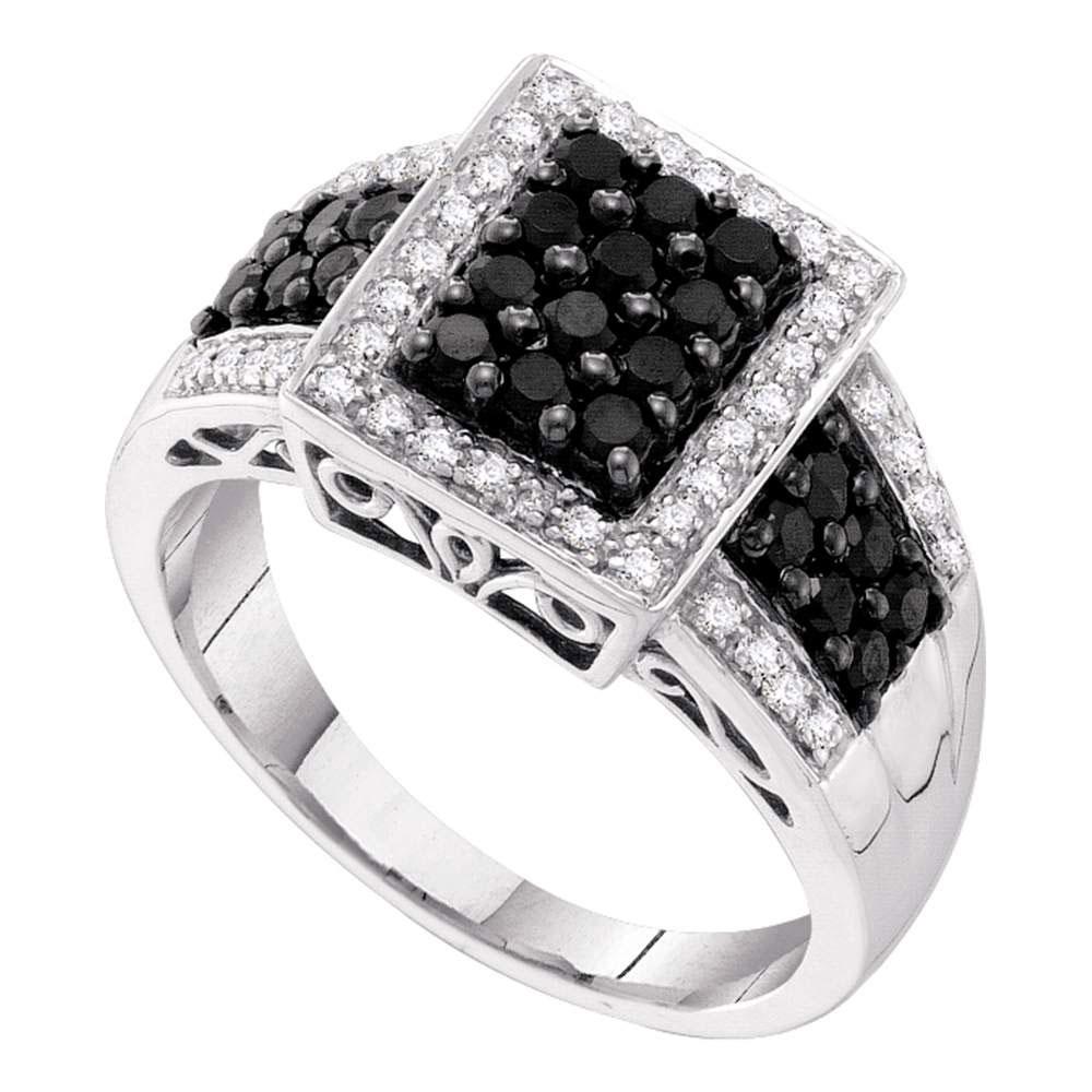 0.66 CTW Black Color Diamond Rectangle Cluster Ring 14KT White Gold - REF-41N9F