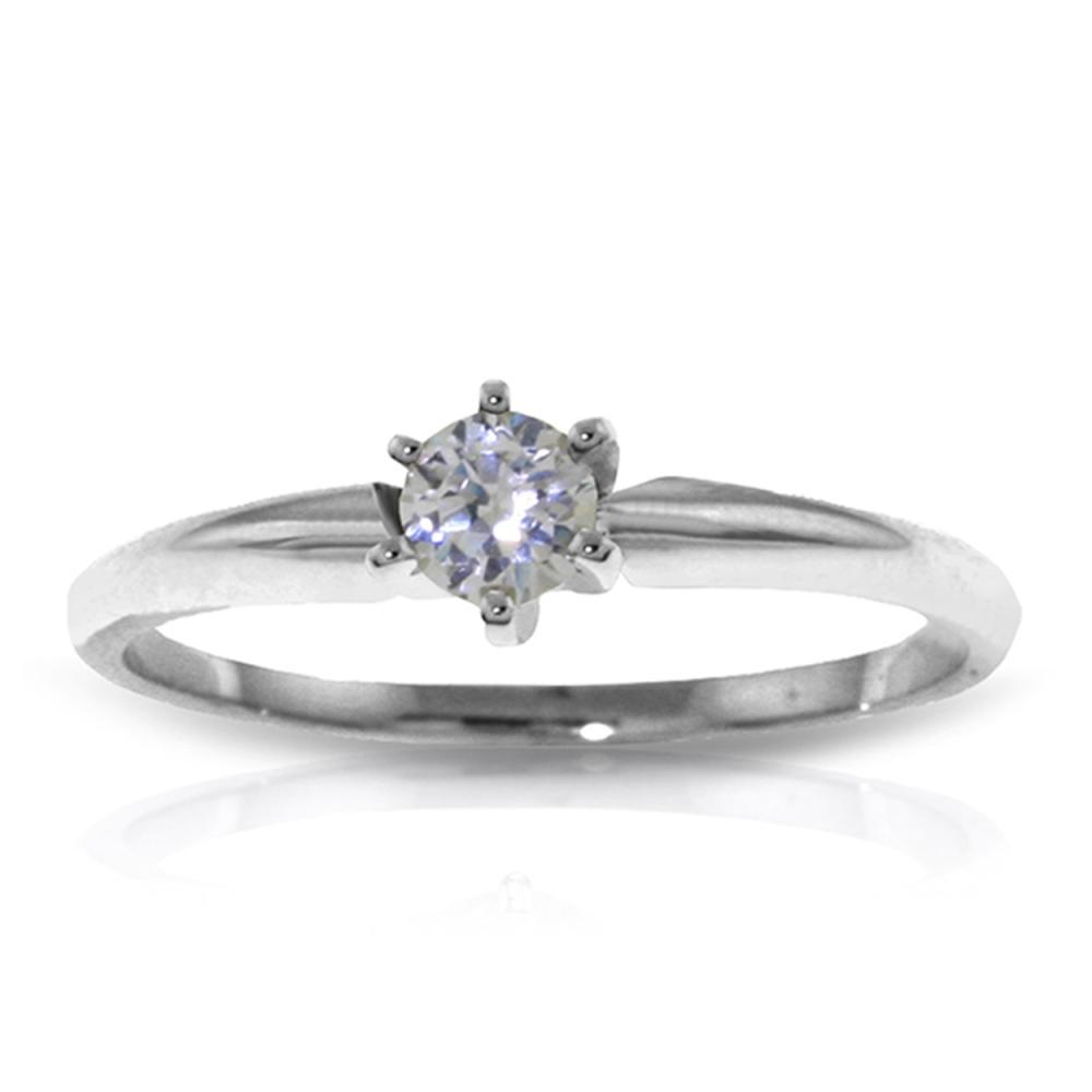 Genuine 0.15 ctw Diamond Anniversary Ring Jewelry 14KT White Gold - REF-76K2V