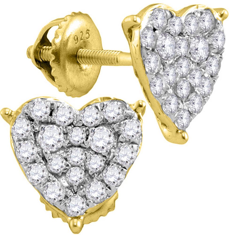 0.47 CTW Diamond Heart Stud Earrings 10KT Yellow Gold - REF-34H4M