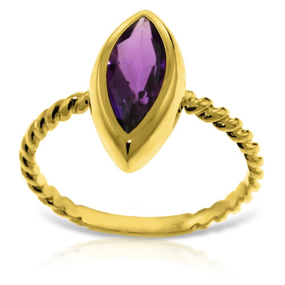 Genuine 1.70 ctw Amethyst Ring Jewelry 14KT Yellow Gold - REF-39W3Y