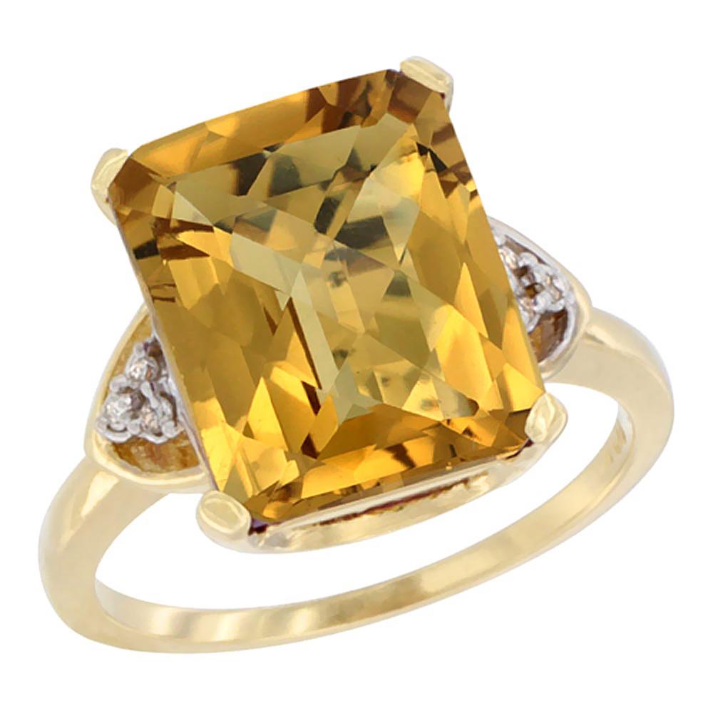 Natural 5.44 ctw whisky-quartz & Diamond Engagement Ring 14K Yellow Gold - REF-43A9V