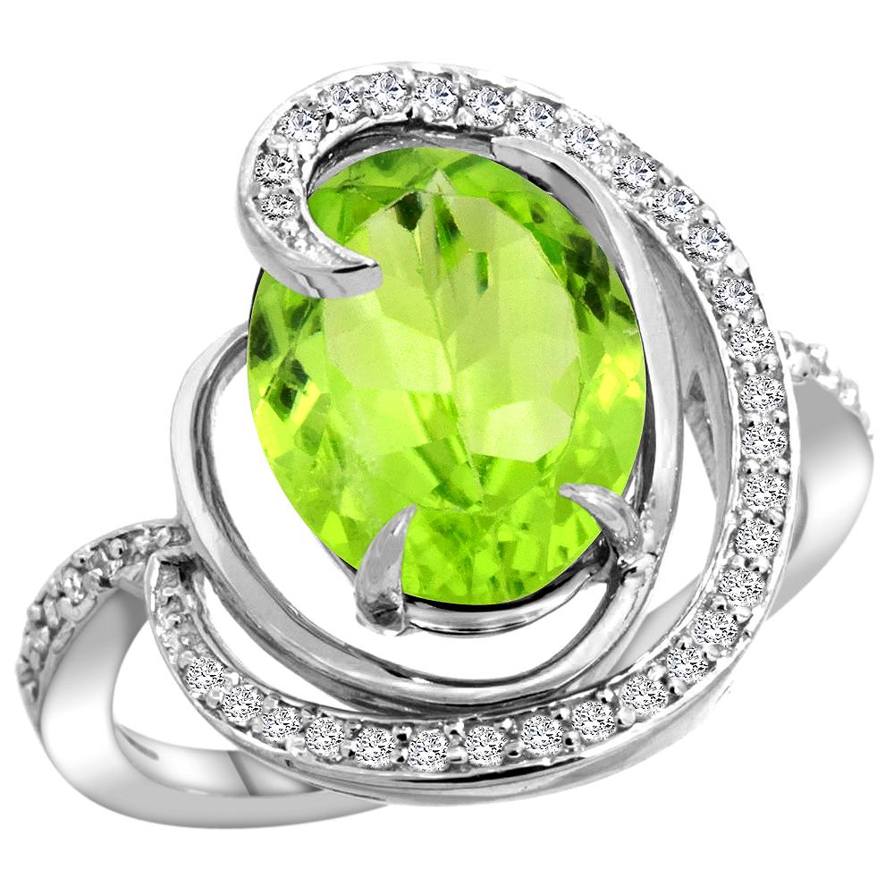 Natural 5.16 ctw peridot & Diamond Engagement Ring 14K White Gold - REF-78R5Z