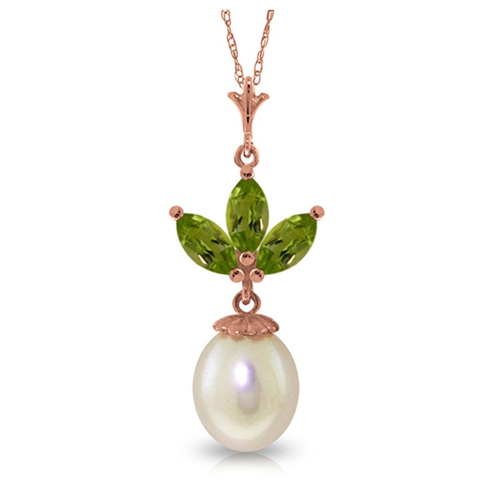 Genuine 4.75 ctw Peridot & Pearl Necklace Jewelry 14KT Rose Gold - REF-24F3Z