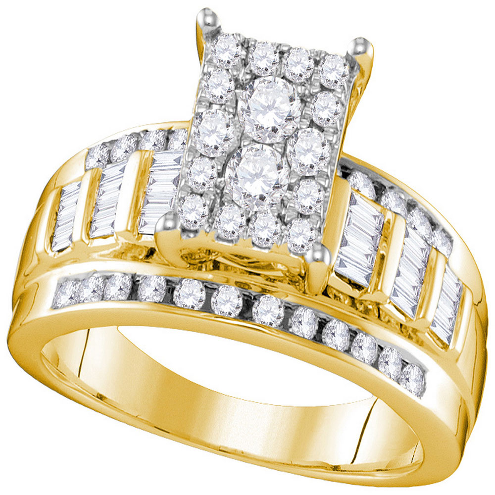 0.92 CTW Diamond Cluster Bridal Engagement Ring 10KT Yellow Gold - REF-67W4K