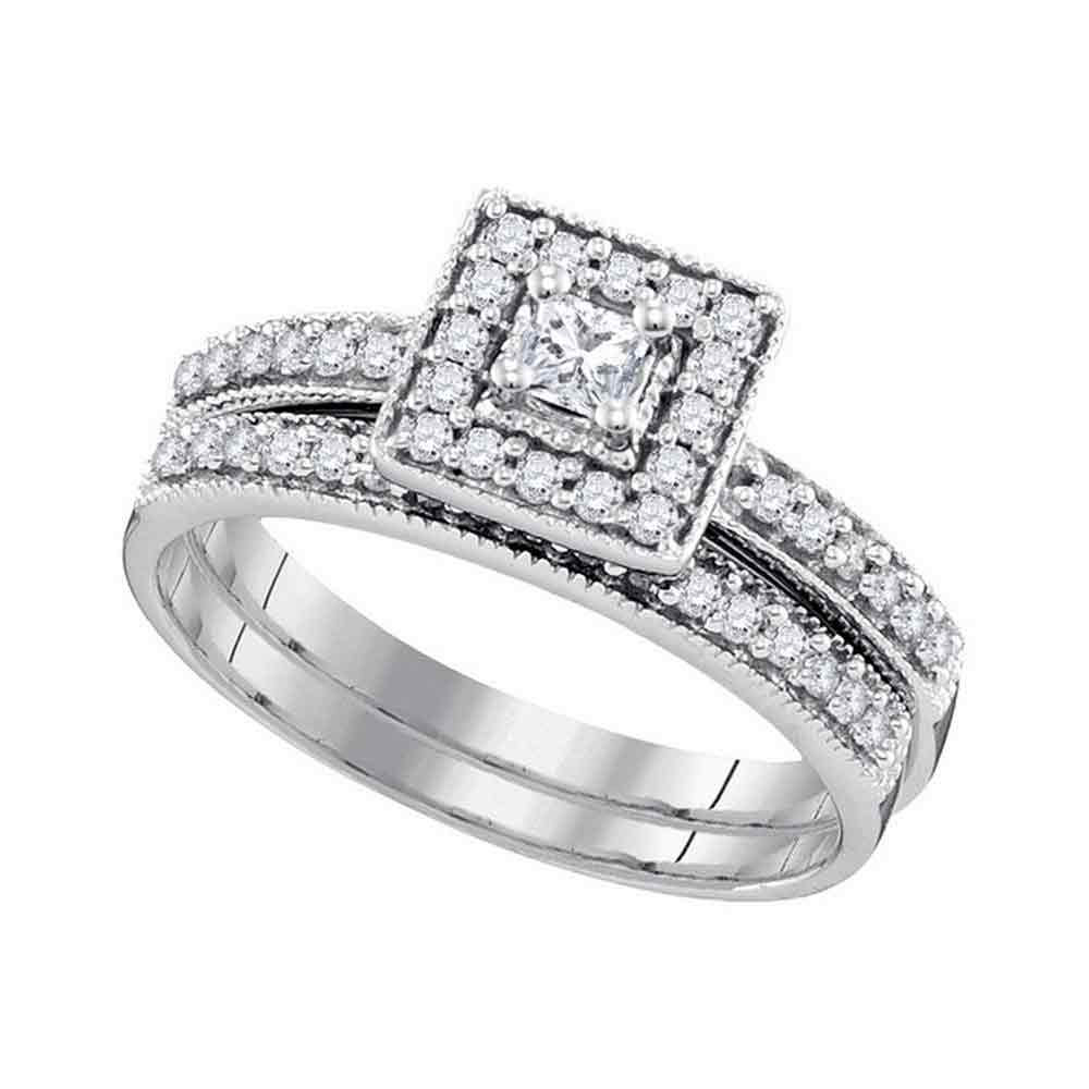 0.50 CTW Princess Diamond Square Halo Bridal Engagement Ring 10KT White Gold - REF-47W8K