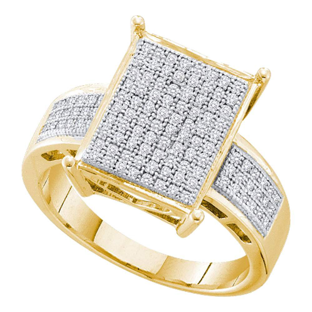 0.30 CTW Pave-set Diamond Rectangle Cluster Ring 10KT Yellow Gold - REF-37M5H