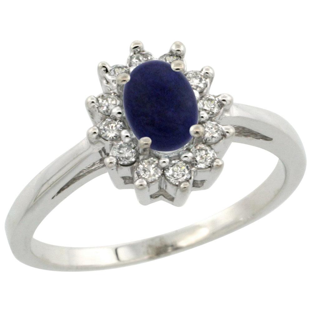 Natural 0.67 ctw Lapis & Diamond Engagement Ring 14K White Gold - REF-47N7G