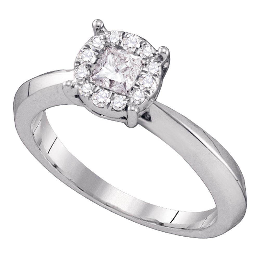 0.51 CTW Princess Diamond Cluster Bridal Engagement Ring 14KT White Gold - REF-101W9K