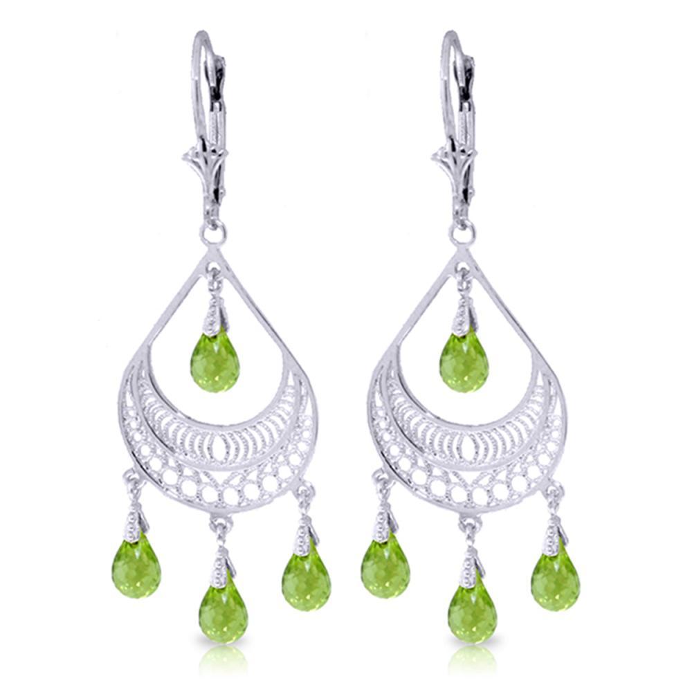 Genuine 6.75 ctw Peridot Earrings Jewelry 14KT White Gold - REF-62V6W