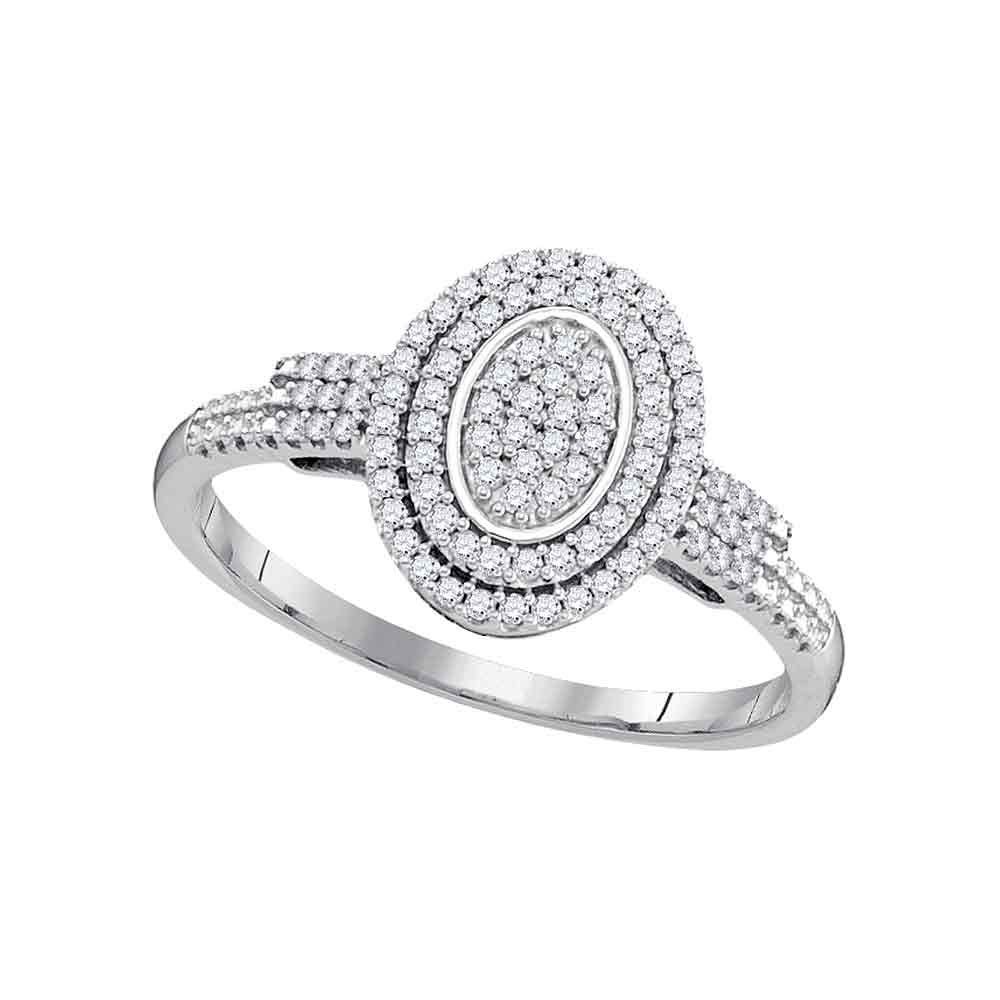 0.25 CTW Diamond Oval Cluster Bridal Engagement Ring 10KT White Gold - REF-22X4Y