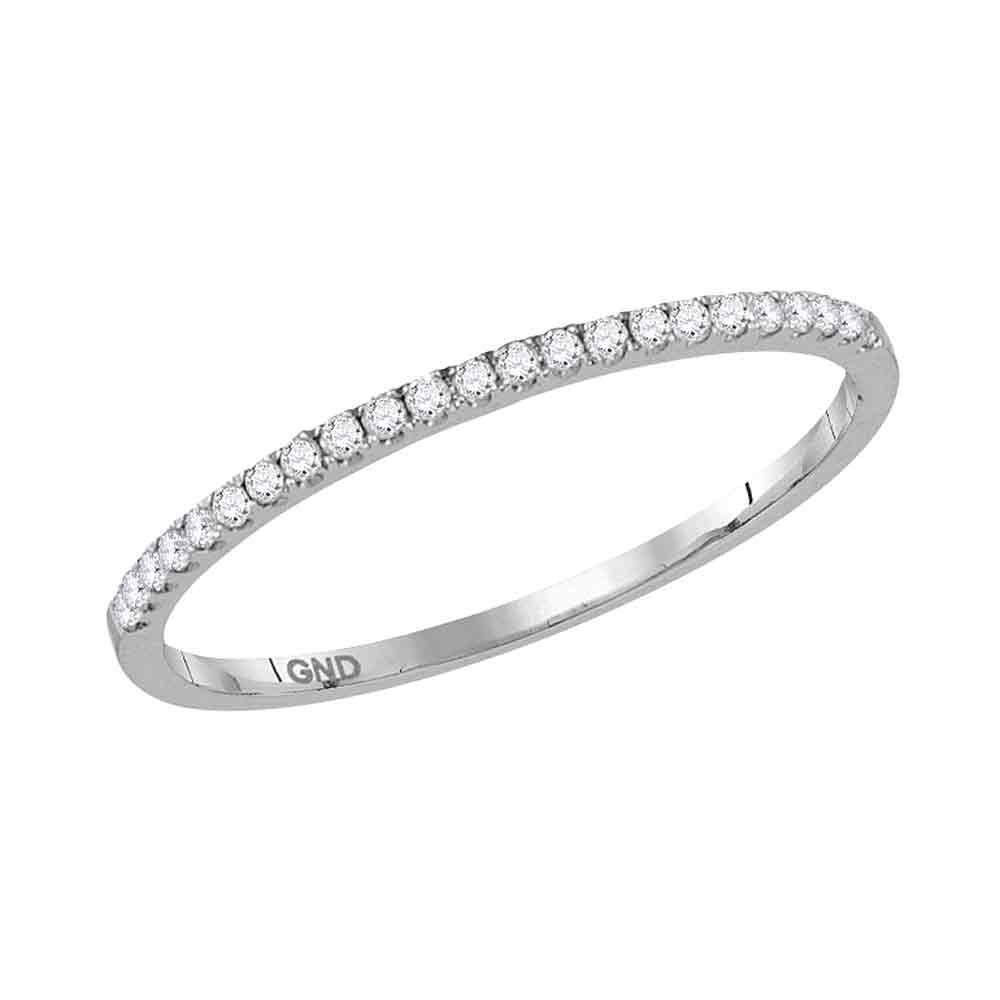 0.12 CTW Diamond Stackable Ring 10KT White Gold - REF-14K9W