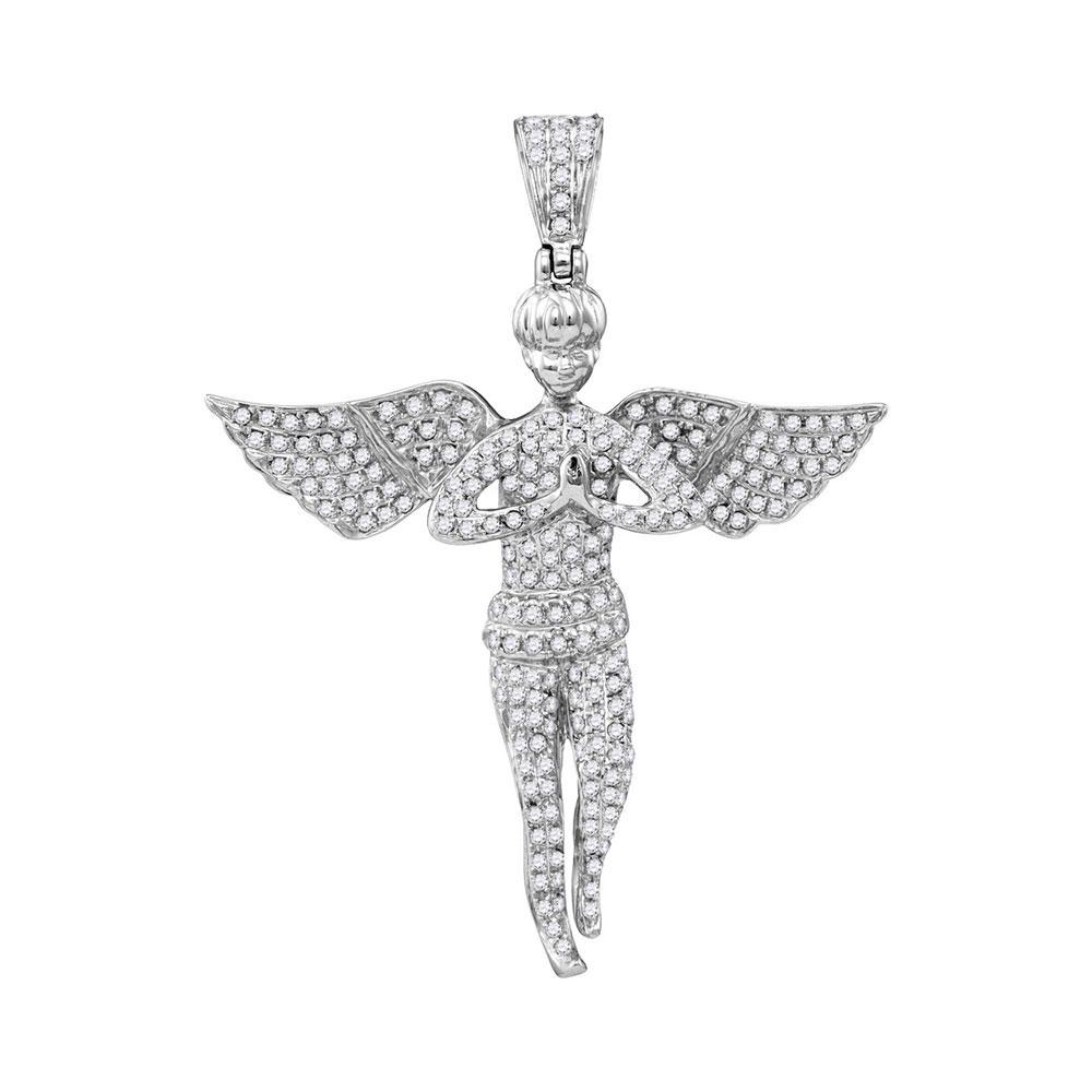 1 CTW Mens Diamond Angel Wings Charm Pendant 10KT White Gold - REF-56W2K