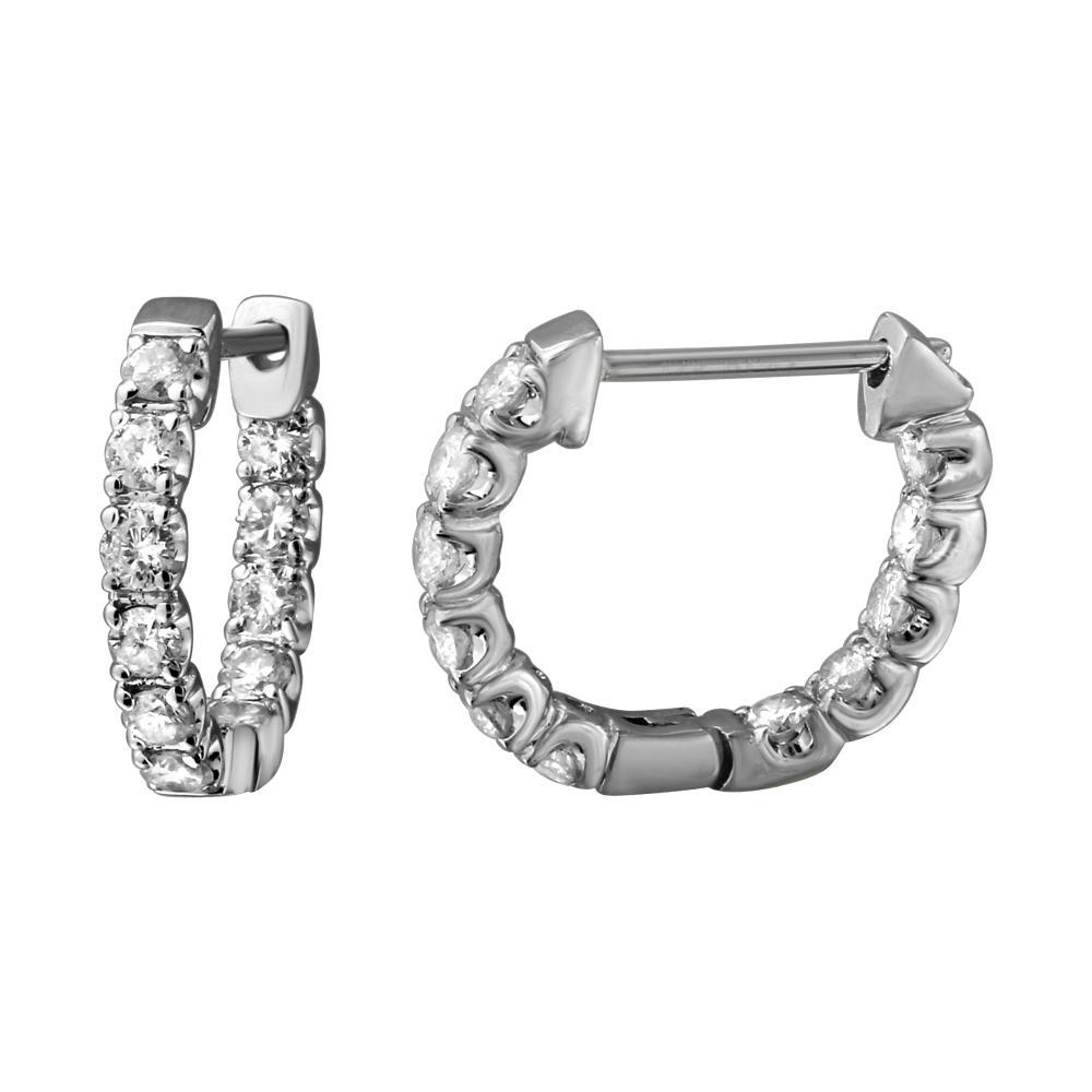 1.04 CTW Diamond Earrings 14K White Gold - REF-77N5Y