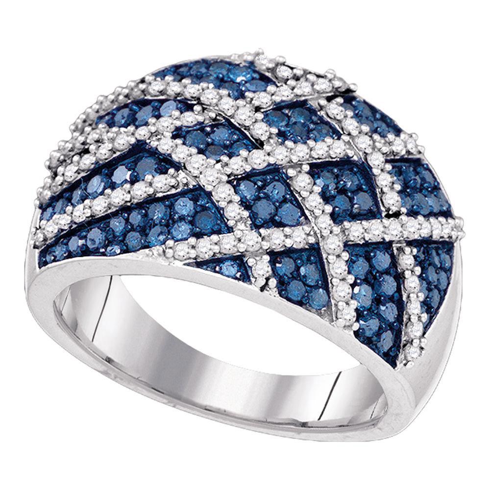 1.33 CTW Blue Color Diamond Cocktail Lattice Ring 10KT White Gold - REF-82N4F
