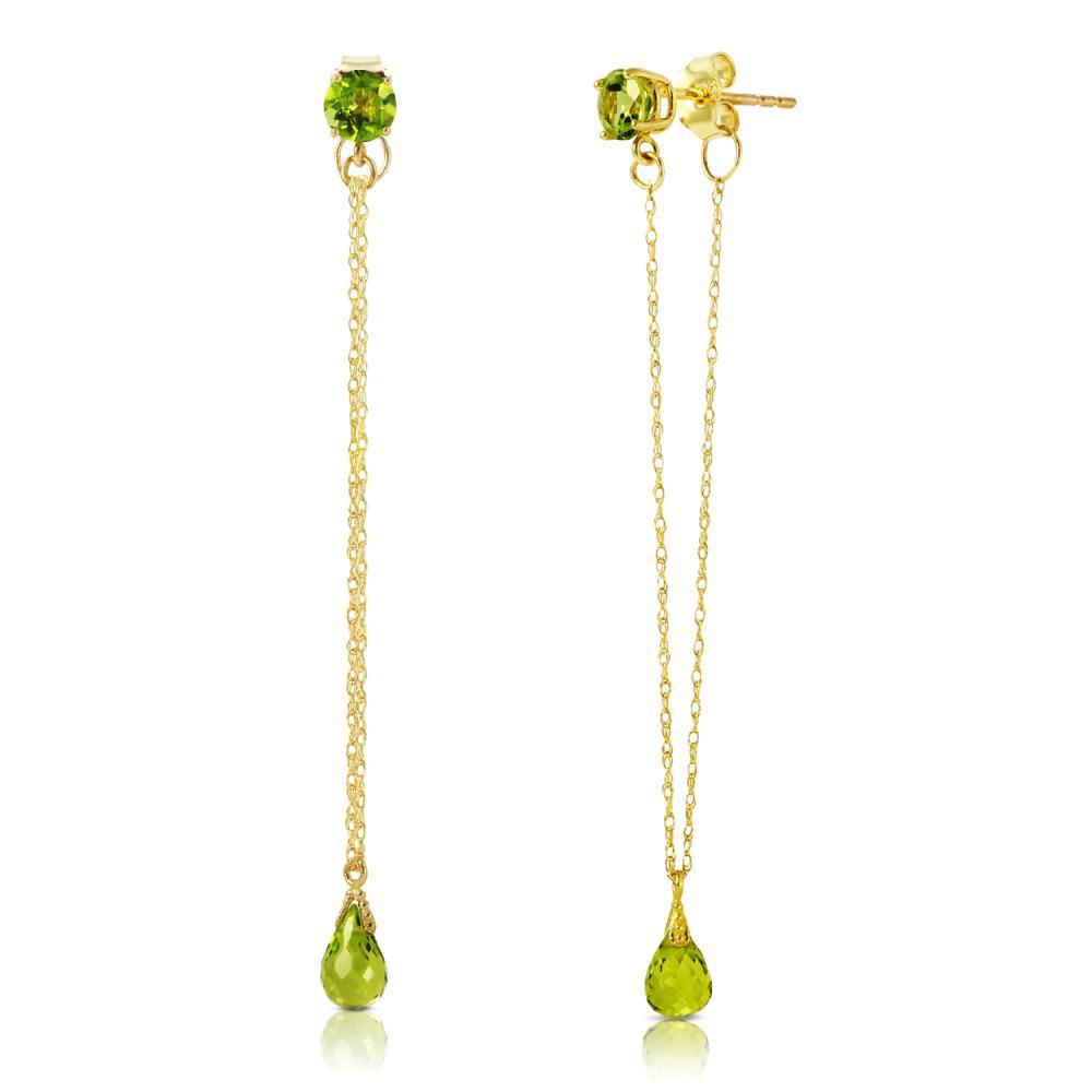 Genuine 3.15 ctw Peridot Earrings Jewelry 14KT Yellow Gold - REF-22H3X