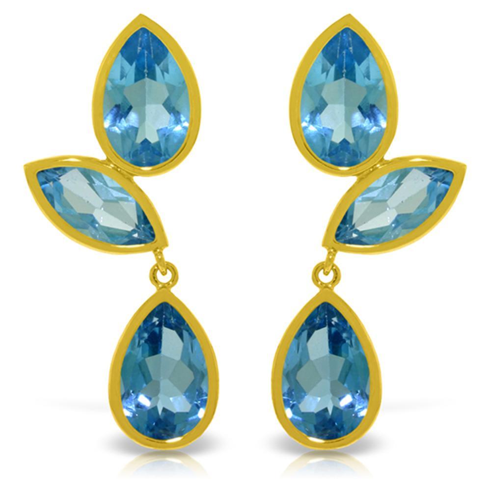 Genuine 13 ctw Blue Topaz Earrings Jewelry 14KT Yellow Gold - REF-58X7M