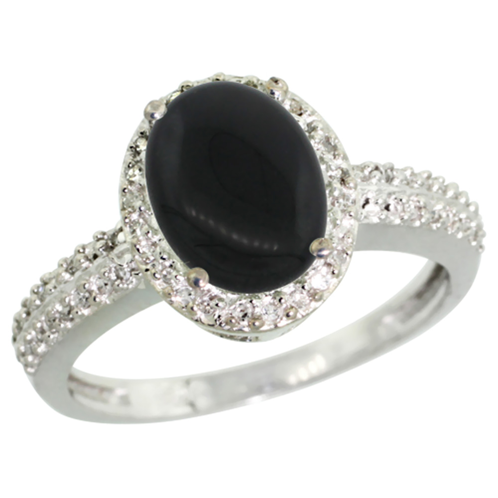 Natural 1.95 ctw Onyx & Diamond Engagement Ring 14K White Gold - REF-39X2A