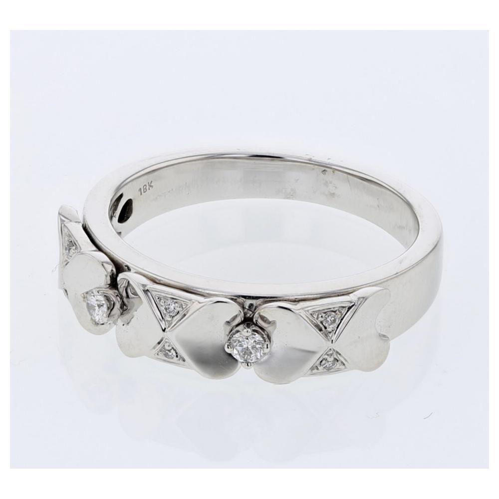 0.09 CTW Diamond Band Ring 18K White Gold - REF-48H5M