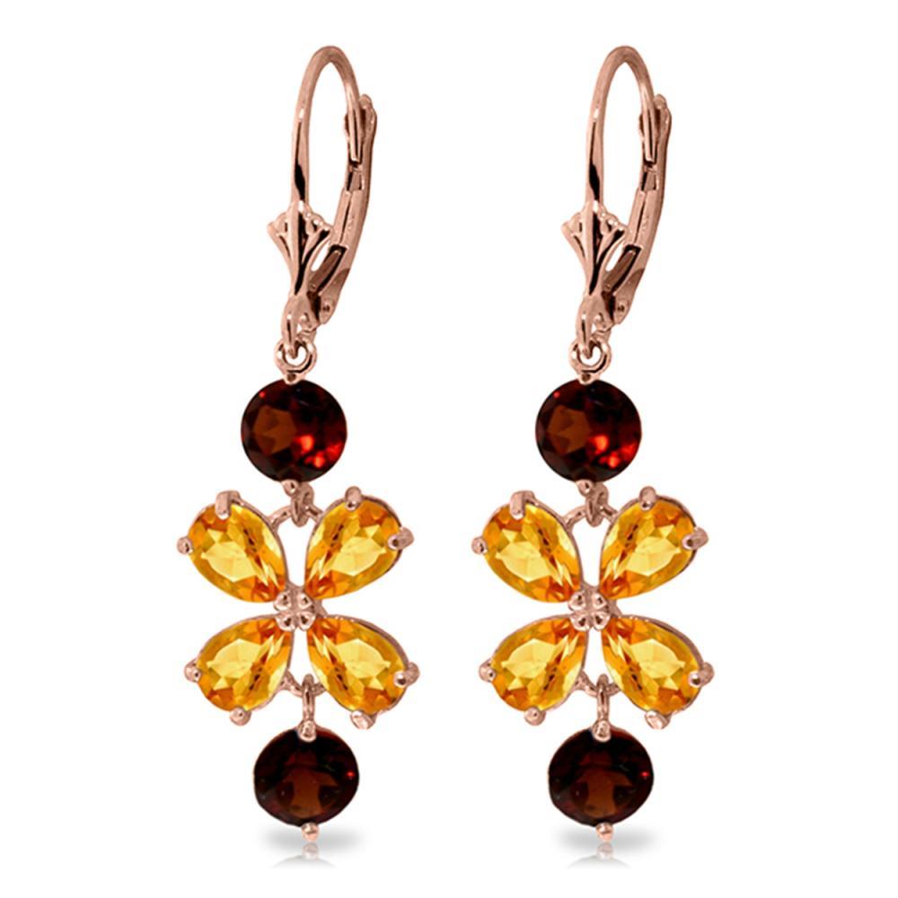 Genuine 5.32 ctw Citrine & Garnet Earrings Jewelry 14KT Rose Gold - REF-50A3K