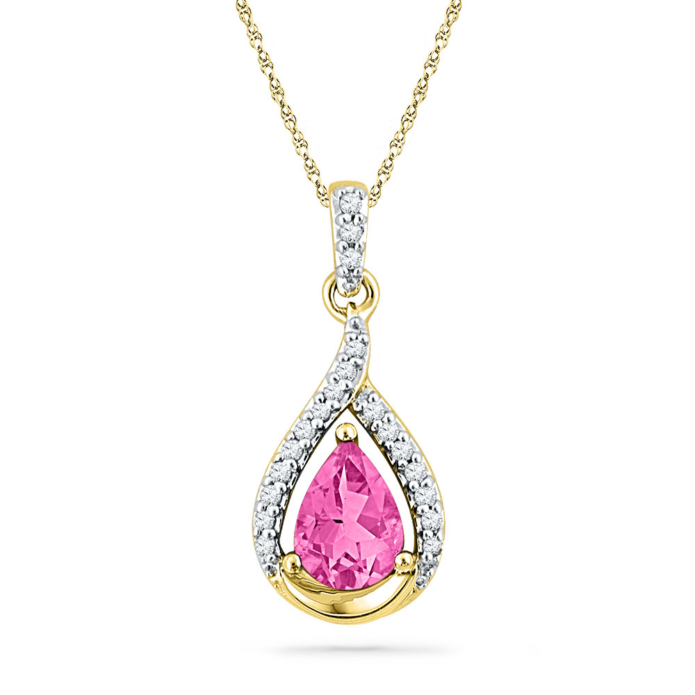 1.65 CTW Pear Created Pink Sapphire Solitaire Diamond Pendant 10KT Yellow Gold - REF-18X7Y