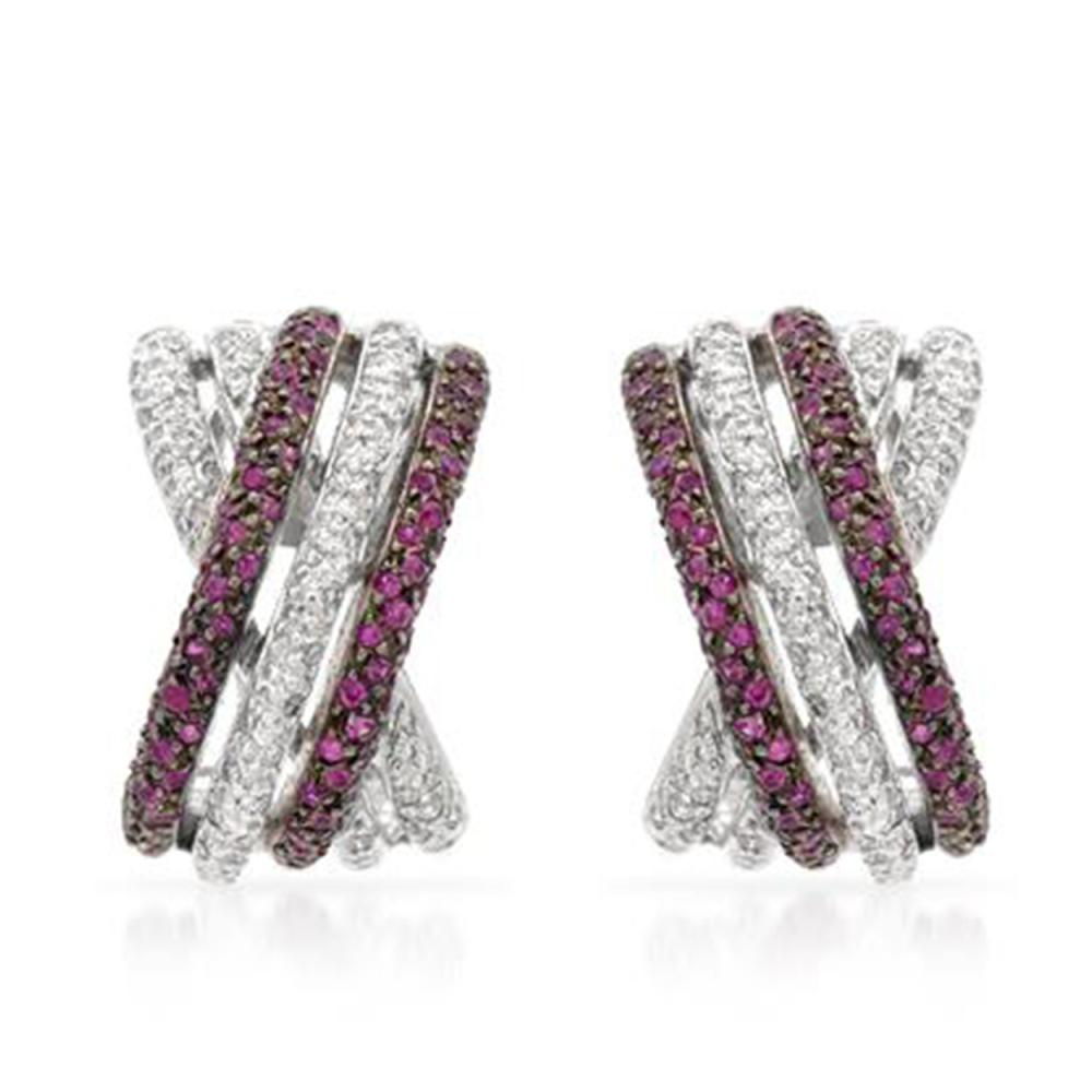 1.17 CTW Ruby & Diamond Earrings 14K White Gold - REF-87X8R