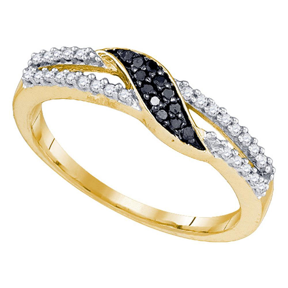 0.15 CTW Black Color Diamond Slender Unique Crossover Ring 10KT Yellow Gold - REF-14K9W