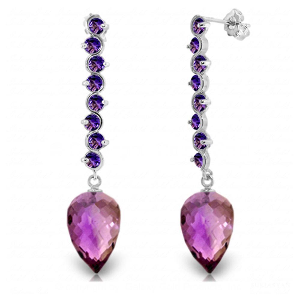 Genuine 22.1 ctw Amethyst Earrings Jewelry 14KT White Gold - REF-69Y2F