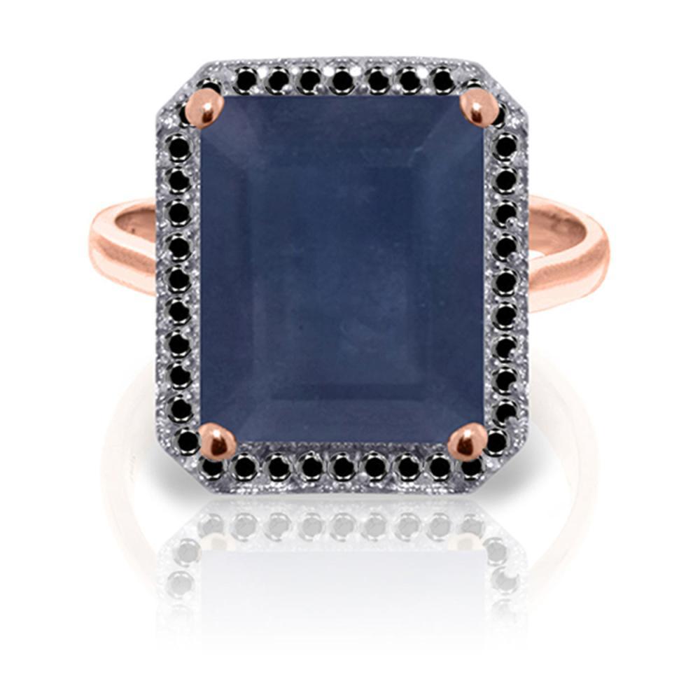 Genuine 6.6 ctw Sapphire & Black Diamond Ring Jewelry 14KT Rose Gold - REF-111T7A