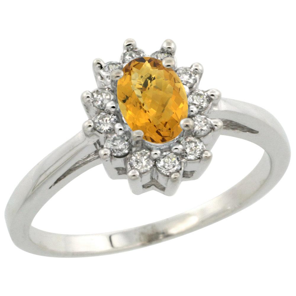 Natural 0.67 ctw Whisky-quartz & Diamond Engagement Ring 14K White Gold - REF-48Z2Y