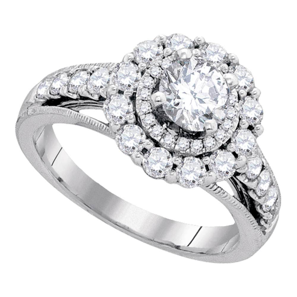 1.75 CTW Diamond Solitaire Bridal Engagement Ring 14KT White Gold - REF-364M4H
