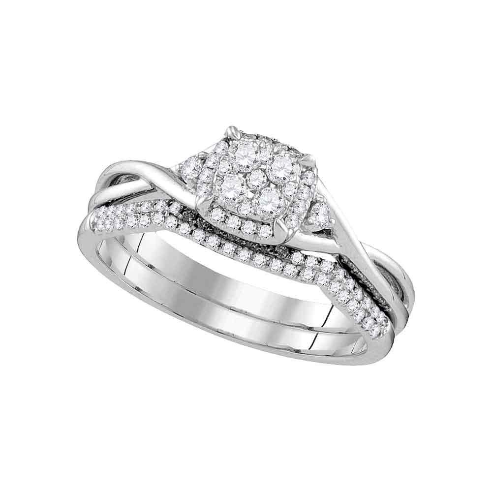 0.38 CTW Diamond Cluster Bridal Engagement Ring 14k White Gold - REF-64K4W