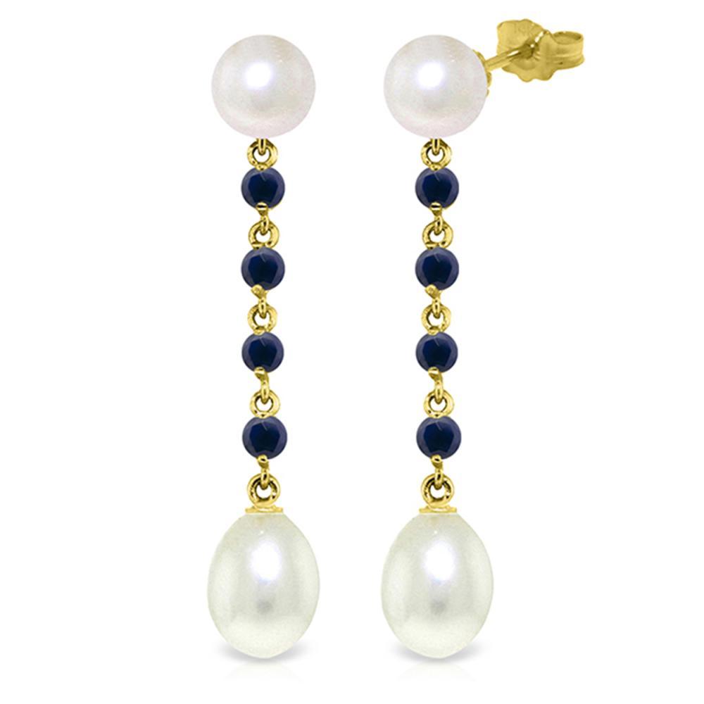 Genuine 11 ctw Pearl & Sapphire Earrings Jewelry 14KT Yellow Gold - REF-31N4R