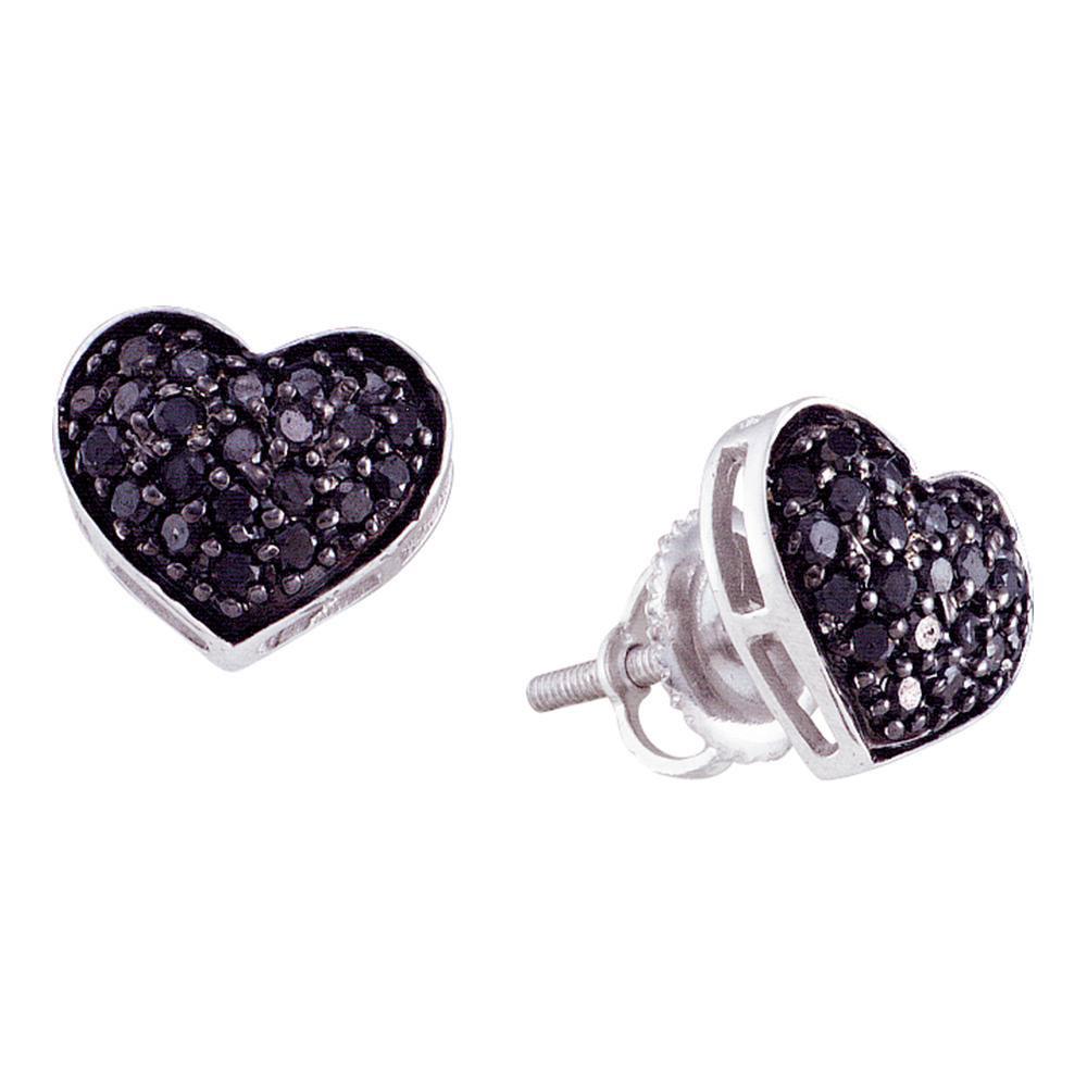 0.40 CTW Black Color Diamond Heart Cluster Earrings 10KT White Gold - REF-18F2N