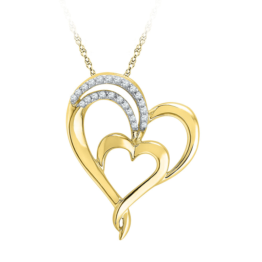 0.12 CTW Diamond Heart Love Pendant 10KT Yellow Gold - REF-16M4H