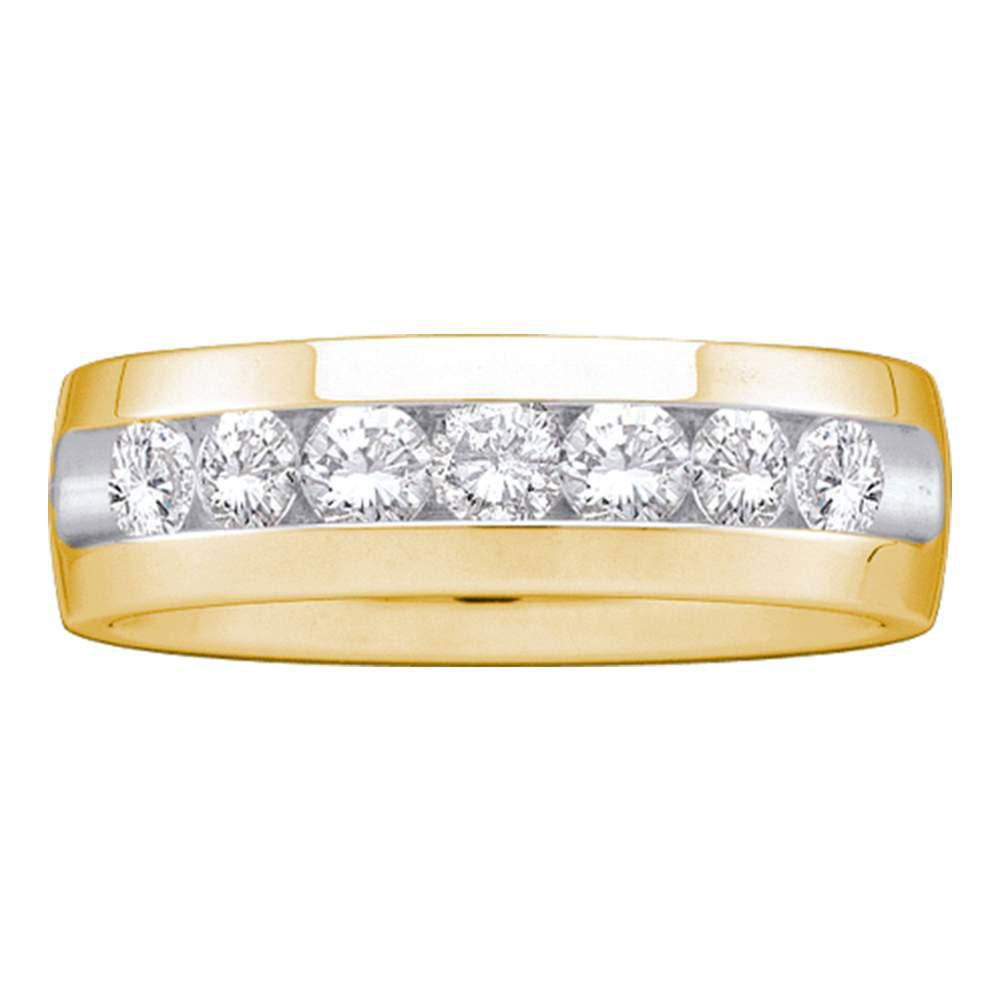 1 CTW Mens Diamond Channel-set Anniversary Ring 14k Yellow Gold - REF-179N9F