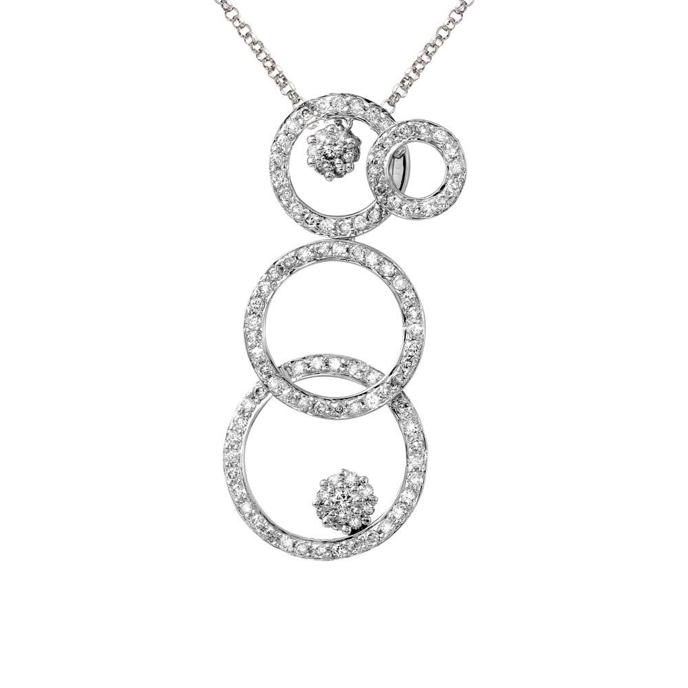 0.76 CTW Diamond Necklace 14K White Gold - REF-53W3H