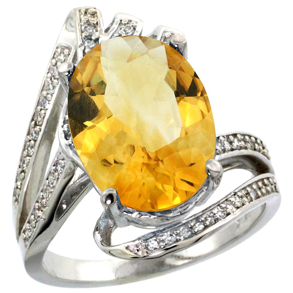 Natural 5.76 ctw citrine & Diamond Engagement Ring 14K White Gold - REF-92K7R