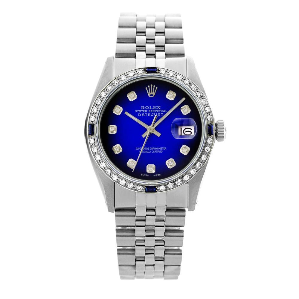 Rolex Pre-owned 36mm Mens Blue Vignette Stainless Steel - REF-580H2N